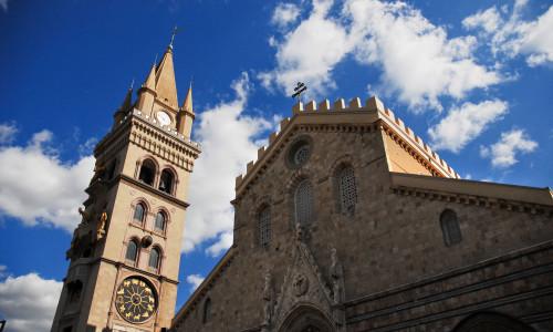 Messina's Norman Duomo, Santa Maria Alemanna (built around 1150) Messina, Island of Sicily, Italy, Southern Europe.
